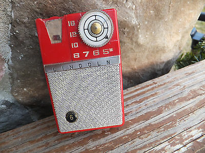 Vintage Red 6-Transistor Lincoln L640 AM Transistor Radio