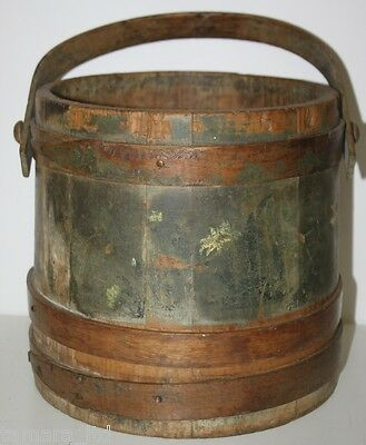 19c Folk Art AAFA Coopered Wooden Barrel Firkin Bucket Original Paint -P&P PL693