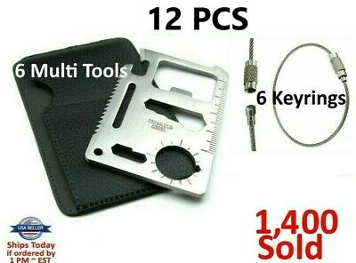 8 Credit Card Knives, 11 in 1 Multi Tool wallet thin pocket survival micro knife