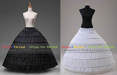 White/Black 6 Hoop Wedding Dress Bridal Ball Gown Crinoline Petticoat Skirt Slip