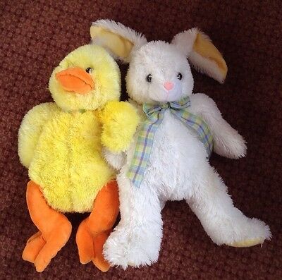 "20"" Plush Easter Bunny & Chick LARGE SIZE, 2 Stuffed Animals, So Soft Cuddly Lot"