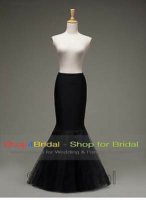 White/Black Hoopless Fishtail Mermaid Bridal Crinoline Petticoat Skirt Slip