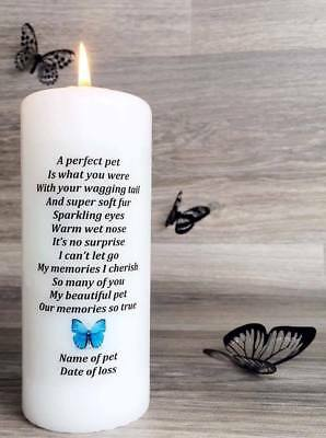 Personalised Pet Loss Memorial Candle -A Perfect Pet 6 inch