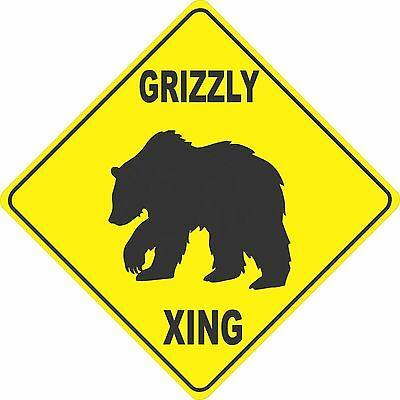 """15.5"""" x 15.5"""" plastic funny Grizzly sign xing Crossings animal wild"""