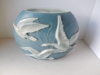 Vintage Phoenix Art Glass  Vase- Blue and White - Flying Geese