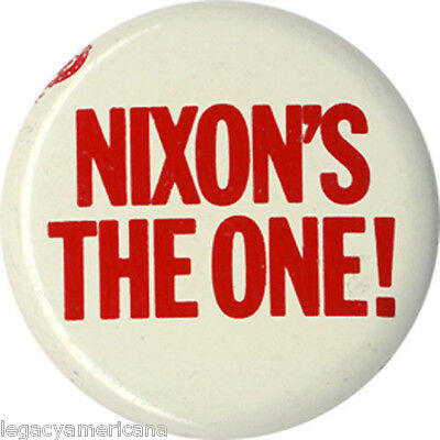 Classic 1968 Richard NIXON'S THE ONE Campaign Button ~ Official Slogan (4476)