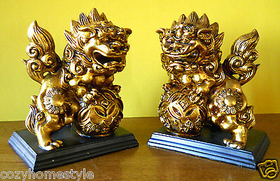 Foo Dog Distresed Gold Figurine Bookend Hollywood Regency Feng Shui Zen 2PC Gift