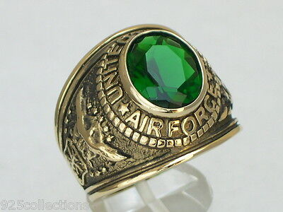 United States Air Force Military May Green Emerald Birthstone Men Ring Size 7-15
