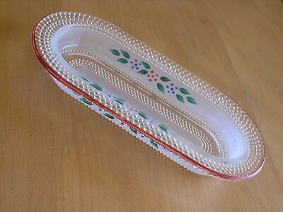 L E Smith Hobnail Dewdrop Oblong Oval Relish Dish Tray Red Rim Blue Green Leaves