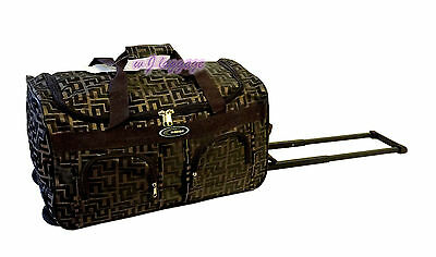 "Coffee 20""rolling duffle bag carry on luggage travel bag in-line skate wheels"