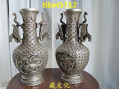 26 cm tall pair China Bronze coated silver tibetan fly dragon crane statue Vase