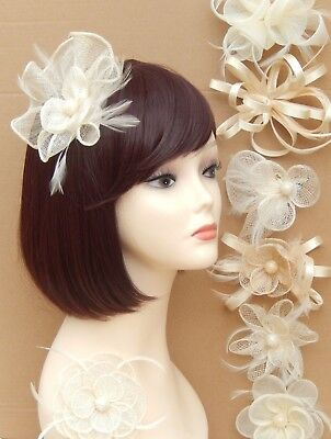 Ivory Fascinator Brooch Clip Hair Flower Mesh Wedding Prom Ladies Day Races UK