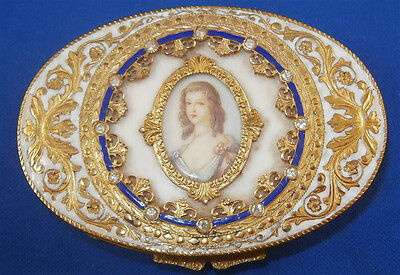 Superb Italian Gold & Enamel Portrait Compact / Patch / Pill Mirror Box Italy