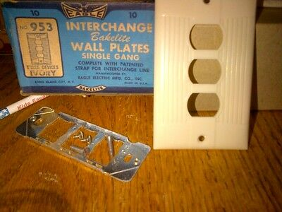 Ivory Bakelite Eagle Elect antique switch/receptacle plate, triple opening, #953