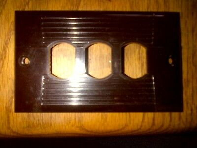 Brown Bakelite Eagle Elect antique switch/receptacle plate, triple opening, #953