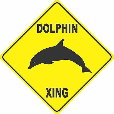 "15.5"" x 15.5"" plastic funny Dolphin sign xing Crossings animal fish"