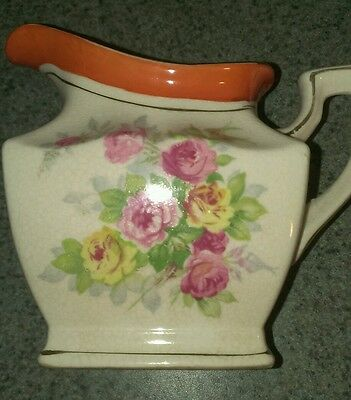 Vintage hand painted porcelain  floral coffee creamer Japanese Oriental Asian