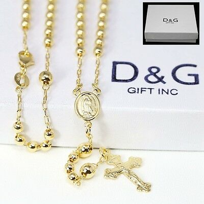 "DG Unisex 18"" Gold-Filled,18K Gold Rosary VIRGIN MARY+ JESUS CROSS Necklace *BOX"