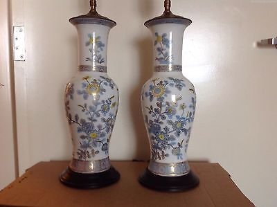 Vintage Frederick Cooper Chippendale Chinoiserie Lamp Pair Oriental Asian Blue