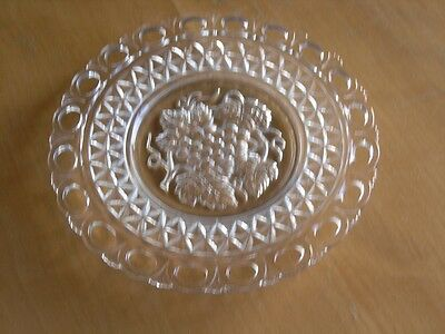 Vintage Reticulated Clear Glass Plate Dish EAPG Grapes Leaves Vines Stars