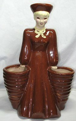 "Vintage Signed California Art Pottery Woman Flower Holder,Hedi Schoop,12"",Rare!"