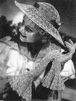 VINTAGE 1940'S SUNLIGHT HAT AND GLOVES CROCHET PATTERN ... # 838