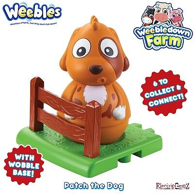 Weebledown Farm Weebles Figure - Patch the Dog with Meadow and Fence Base