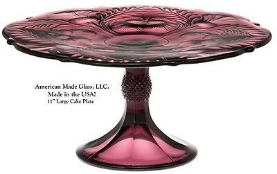 Amethyst Glass Inverted Thistle Pattern Large Cake Plate - Mosser USA