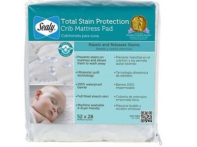 Sealy Total Stain Protection Snug Fit Waterproof Fitted Crib Mattress Pad - New