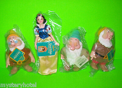 SET OF 4 SNOW WHITE & 3 DWARFS TOYS NEW OLD STOCK WITH TAGS GREAT XMAS GIFTS