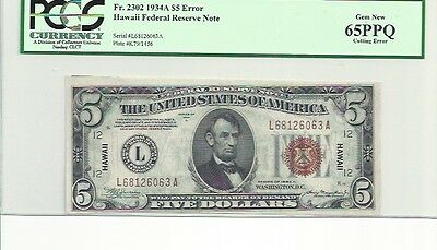 "$1934-A $5 error FEDERAL RESERVE NOTE BROWN SEAL ""HAWAII"" PCGS 65 gem cutting e"