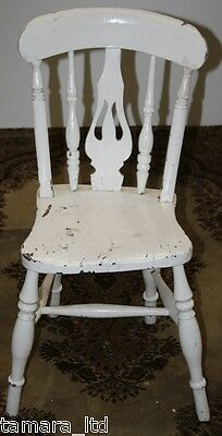 Vintage Antique Victorian Farmhouse Solid Wood Spindle Legs Dining Kitchen Chair
