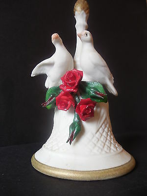 CAPO DIMONTE PORCELAIN BELL with LOVE BIRDS - RED ROSES