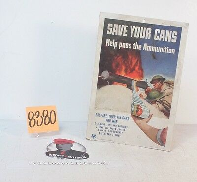 """Vintage WWII US Propaganda Poster """"Save Your Cans"""""""