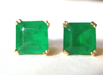 Stunning New Authentic 5CTW Emerald Doublet Gold Sterling Silver 925 Earrings