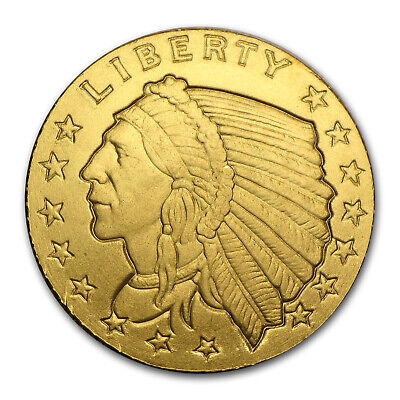 1/10 oz Gold Round - Incuse Indian - SKU #84587