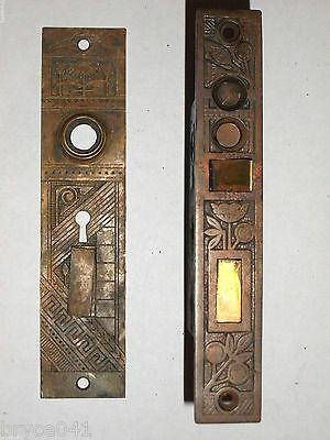 Antique Eastlake Egyptian Revival Nashua Entry Mortise Lock With Exterior Plate