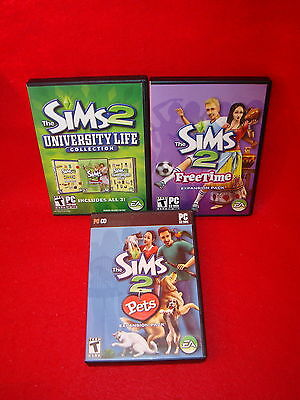 THE SIMS 2 EXPANSION PACK LOT x 3 PC Games University Life Pets & Freetime