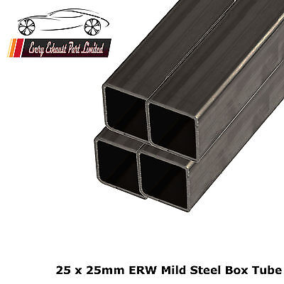 Mild Steel ERW Box 25mm x 25mm x 1.5mm, 2000mm Long - 4 Pack - Square Tube