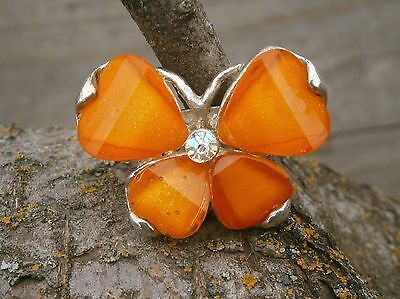 Retro 80's Orange Lucite Butterfly Chunky Adjustable Fashion Ring AB Rhinestone
