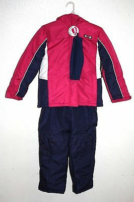 NWT Pink Platinum girls snowsuit, purple white winter coat bibs 2 pcs Size 10/12