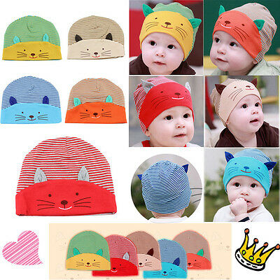 b06225b8c8d New Baby Soft Cotton Cat Stripe Beanie Boys Girls Hat Infant Newborn Kids  Cap SI