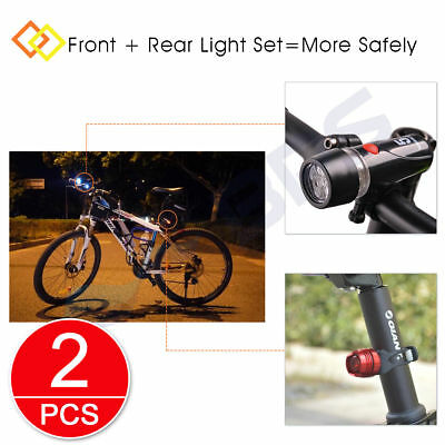 2x 5 LED Bicycle Bike Cycle Head Front Light + Rear Safety Alarm Flashlight Lamp