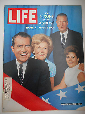 LIFE MAGAZINE AUGUST 16, 1968 THE NIXONS AND THE AGNEWS