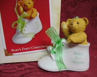Hallmark 2003 Porcelain Shoe Ornament~Baby's First Christmas