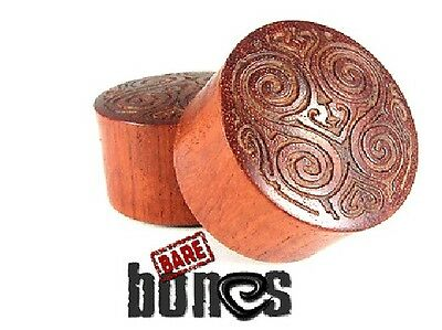 "Bare Bones Pair Blood Wood Carved Raw Plugs 1 1/8"" to 1 1/2"" [Select Your Size]"