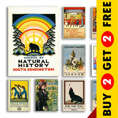 Vintage London Travel Posters, A3 A4 Size Retro Wall Art Prints Christmas Gift