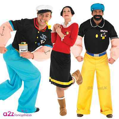 Mens Womens Adult Popeye Olive Oyl Brutus Licensed Fancy Dress Costumes Cartoon  sc 1 st  PicClick UK & MENS WOMENS ADULT Popeye Olive Oyl Brutus Licensed Fancy Dress ...