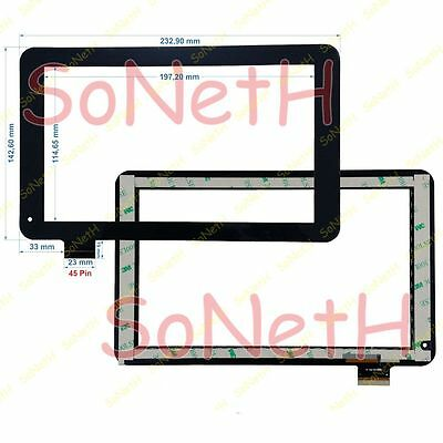"""Vetro Touch screen Digitizer 9,0"""" Majestic TAB-493 3G Tablet PC Nero"""