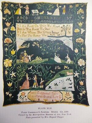 Vintage 1921 Patty Coggeshall AMERICAN SAMPLER 1795 Embroidery Color Print